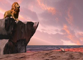 A 75% dark lion is 2 inch in a large rock. The rock is -10 inch above the ground. The ground is 50 feet wide [water]. A field is 3 feet in front of the rock. Camera light is black. A red light is right of and above the rock. The sun is pink. A rock is in front of and -3 feet left of the rock. A brown light is above and behind and 3 feet right of the rock. The field is sand. A mouse is 4 feet in front of the rock. It is on the field. It is facing the lion. It is leaning 5 degrees to the back. The azimuth of the sun is 270 degrees. The sky is facing southeast. It is leaning forward