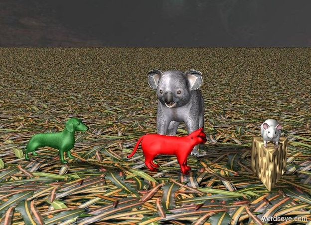 Input text: The giant mouse is on the giant cheese.  A red cat is 1 feet away from cheese.  the red cat is facing east.  A green dog is 1 foot away from cat.  The green dog is facing east.    the ground is leaf. a koala is behind the cat.  the sky is god.