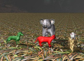 The giant mouse is on the giant cheese.  A red cat is 1 feet away from cheese.  the red cat is facing east.  A green dog is 1 foot away from cat.  The green dog is facing east.    the ground is leaf. a koala is behind the cat.  the sky is god.