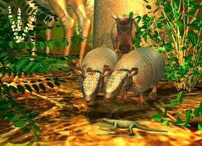 a 1st armadillo. a marble is 1 foot in front of and left of the armadillo. 2nd armadillo is -.3 foot right of the 1st armadillo. it faces the marble. a 3rd armadillo leans 25 degrees to the back. it is -.7 foot above and -.2 foot to the right of and -1 foot behind the 1st armadillo. a very tiny lizard is in front of the armadillos. it faces left.  a deer is left of and -.5 foot behind the armadillos. it faces northwest. a [forest] wall is behind the deer. ground is matte. ground is 10 foot wide [dirt]. a tree is -15 feet behind the armadillos. sun's azimuth is 0 degrees. a 1st  flat bush is behind the deer. it is in front of the wall. a 2nd bush is in front of and -2.5 foot right of the deer. a celadon green light is 5 feet above and in front of the bush. a 3rd small bush is -1 foot right of the armadillos. an old gold light is above the deer. a 4th small bush is in front of the 3rd bush. it leans 90 degrees to the right. it is .5 foot in the ground. camera light is orange spice. a tiny sienna light is in front of and -.2 foot above the 3rd armadillo.