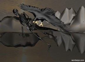 a black skeleton.it is leaning 45 degrees to the southeast.it is noon.the ground is shiny black.the ground is 135 feet tall.the sky is dark.the skeleton is 3 feet above the ground.a black eagle is -4.5 feet above the skeleton.it is -4 feet right of the skeleton.the eagle is leaning 40 degrees to the southwest.a silver light is 1 feet above the eagle.the sky is picture.