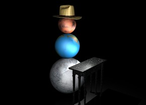 the ground is black. it is night. the 1st 15 feet tall planet. the 2nd 10 feet tall planet is on the 1st planet. the 3rd 7 feet tall planet is on the 2nd planet. the 5 feet tall hat is -15 inches above the 3rd planet. the light is in front of and to the right of the 3rd planet. it is facing to the 2nd planet. the 15 feet tall and 16 feet long [space] table is in front of the 1st planet. it is facing to the 1st planet. the 2nd light is 2 feet above the table