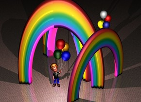 a 1st rainbow is 100 feet tall and 10 feet deep. it is .5 foot in the ground. a 2nd rainbow is 70 feet tall and 90 feet wide and 5 feet deep. it is -100 feet above and -40 feet right of the 1st rainbow. it faces southeast. a 3rd 90 feet tall and 15 foot deep rainbow is behind the 1st rainbow. it faces southwest.. ground is pavement. a 1st 60 foot tall boy is -10 feet in front of the 1st rainbow. 2nd 70 foot tall boy is -7 foot right of and -10 feet behind the 3rd rainbow. he faces the 1st boy. it is night. a pink light is -30 feet above and in front of the 1st boy. a wildness light is behind the 2nd boy.