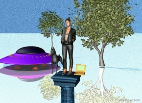 A woman is on the marble pedestal. Dog is to the left of the woman. Internet is right of the woman. The ground is reflective. The sky is water. A small oak tree is 23 feet behind the pedestal.  A UFO is 2 feet left of the small oak tree. A tree is 3 feet behind the UFO.