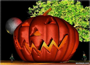 a 30 feet tall jack o lantern.a yellow light is -20 feet above the jack o lantern.it is night.a 1st witch is right of the jack o lantern.she is facing southwest.a 2nd witch is left of the jack o lantern.she is facing southeast.a gold light is 3 feet right of the 1st witch.a red light is 1 feet above the jack o lantern.a 60 feet tall tree is 2 feet behind the jack o lantern.the tree's leaf is dark green.the tree's tree trunk is shiny.a 10 feet tall moon is 10 feet above the 2nd witch.two lemon lights are left of the moon.