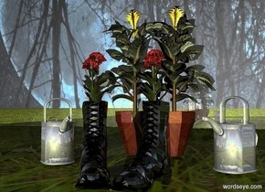 a shiny boot.a 1st flower is -6 inches behind the boot.it is -7 inches left of the boot.the 1st flower's vase is shiny.a shiny can is 2 inches right of the boot.it is facing northwest.the can is behind the boot.a shiny flowerpot is 3 inches behind the can.it is left of the can.a 2nd flower is -2 inches above the flowerpot.a 1st flat silver wall is left of the boot.it is facing right.a 2nd flat silver wall is behind the 1st wall.the ground is grass.the sky is picture.the sky is upside down.