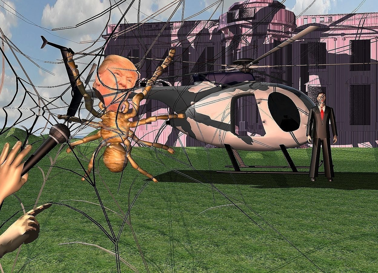Input text: 1st 15 feet tall spider web. a 1 feet tall  orange [hair] spider is -8 feet above and .01 feet in front of the web.it faces back. it leans 88 degrees to the back. a human head is -2.2 feet above and -.2 feet in front of and -3.3 feet left of the spider. it leans 10 degrees to the front. 2nd 8 feet tall spider web is -6 feet left of and .01 feet in front of the 1st web. 3rd 12 feet tall black web is -9 feet above and .01 feet in front of and -9 feet left of the spider. 4th 7 feet tall brown web is -5 feet above and -4 feet right of and .01 feet in front of the spider. a helicopter is 4 feet behind the web. it faces right. the ground is grass. a small stone white house is 40 feet behind the helicopter. a 4 feet tall man is -7 feet right of and -4 feet in front of the helicopter. a large microphone is 3 feet in front of and  -3.4 feet right of and -4.4 feet above the spider. it leans 45 degrees to the northwest. 1st large tan hand is -2.27 feet above and -1 feet left of and -1.2 feet in front of the microphone. it faces northwest. it leans 29 degrees to the right. 2nd 1.3 feet tall tan hand is -2.7 feet above and  .7 feet in front of and -.6 feet right of  the microphone. it faces northeast. it leans 59 degrees to the front. a  60% coral light is above the 2nd hand. the camera light is dim