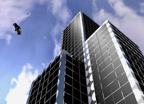 A shiny [circle] building. The sun is silver. 2 lights are in front of and above the building. A large black car is 50 feet in front of and -250 feet above the building. It is leaning 60 degrees to the front. It is facing northeast. A large bird is 20 feet above and right of the car.