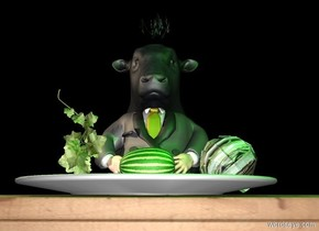 The cow is 1 foot behind the table. The man is -1.5 foot in front of the cow. He is 4 feet tall. The sky is black. The sun is black. The large plate is on the table. The [leaf] vegetable is 2 inches in the plate. It is leaning 40 degrees to the right. A tiny fruit is 1 inches to the left of the vegetable. It is on the plate. It is leaning 90 degrees to the right. A second tiny fruit is in front and to the left of the fruit. It is face down. The tan light is above and 2 feet to the left of the man. The large grass is above and -1 foot in front of the cow. A green light is 2 feet above and 2 feet to the right of the man. It is 2 feet in front of the man.