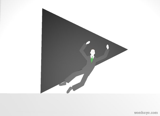 Input text: There is a 10 foot tall flat black pyramid. the pyramid leans 90 degrees to the left. a 15 foot tall white wall is behind the pyramid. the ground is silver. the pyramid is 2 feet above the ground. the sky is white. a flat silver man is in front of the pyramid.