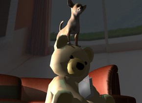 A dog is -3 inch above a bear. A [leather] sofa is behind the bear. The sky is [house]. The sun is grey. Camera light is black. A light is left of the sofa. A brown light is left of and above the sofa. The sky is 30% dark. A dim cyan light is above the dog.