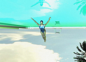 a 12 foot tall swimming pool is upside down. it is 3 foot in the ground. ground is invisible. a small swimmer is -20 feet in front of the swimming pool. she leans to the back. a lemon chiffon light is behind the swimmer. a teal light is in front of the swimmer. the swimming pool's water is shiny. sun is lemon chiffon. a palm tree is behind and -16 feet right of the pool. it is upside down. it is 25 feet in the ground. it leans to the left. a small lawn green light is in front of the palm tree.