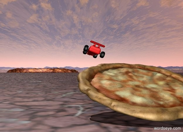 Input text: pizza tilted 90 degrees. cartoon object faces east. cartoon object tilted 90 degrees. cartoon object is 2 feet east of pizza. cartoon object is 1 feet in the air