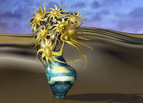 a [van gogh] vase. 1st flower is -.4 feet above the vase. 2nd flower is -.6 feet above and -.9 feet right of the vase. it leans left. 3rd flower is -.6 feet above and -.9 feet left of the vase. it leans right. 4th flower is -.9 feet above and -.7 feet left of the vase. 5th flower is -.9 feet above and -.7 feet right of the vase. 6th flower is -1.2 feet above the vase. 1st 1.5 feet tall metal sun symbol is .1 inch in front of and -1 feet above the 1st flower. 2nd 1.4 feet tall metal sun symbol is .1 inch in front of and -1.2 feet above and -1.1 feet right of the 2nd flower. it leans back.  3rd 1.7 feet tall metal sun symbol is .1 inch in front of and -1.3 feet above and -1.1 feet left of the 3rd flower. it faces southwest. 4th 1.4 feet tall metal sun symbol is .1 inch in front of and -1.3 feet above and -1.1 feet left of the 4th flower. it leans to the front. 5th 1.7 feet tall metal  sun symbol is .1 inch in front of and -1.2 feet above and -1.1 feet right of the 5th flower. 6th 1.7 feet tall metal sun symbol is .1 inch in front of and -1.6 feet above the 6th flower. 7th flower is -.8 feet above and -1 feet right of the vase. it leans 30 degrees to the left. a 1.8 feet tall metal sun symbol is .1 inch in front of and -1.1 feet right of and -1.3 feet above the 7th flower. it faces southeast. the ground is [desert]