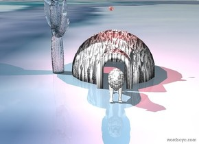 the igloo is huge art. a big glass cactus is next to the igloo. the red vermilion light is 3 foot above the igloo.  huge red eyeball is 3 foot above the igloo. the ground is image-11929. white lion is in front of the igloo.
