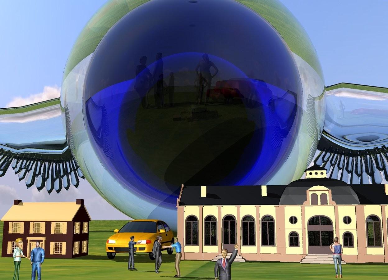 Input text: the ground is texture. the 1st 5 feet tall transparent sphere. the 2nd  3 feet tall transparent blue sphere is -48 inches above the 1st sphere. the 3rd 1.5 feet tall transparent green sphere is -30 inches above the 2nd sphere. the 1st 0.4 feet tall building is 3 feet in front of the 1st sphere and -0.2 inches above the ground. the 2nd 0.6 feet tall building is 0.7 feet to the right of the 1st building. the 1st 2 inches tall human is 5 inches to the right of and 15 inches in front of the 1st building. the 2nd 2 inches tall human is to the left of the 1st human. he is facing to the 1st human. the 3rd 2 inches tall human is 7 inches to the right and 7 inches in front of the 1st building. he is facing to the 2nd building. the 4th 2 inches tall human is 9 inches in front of the 2nd building. he is facing to the 2nd building. the 5th 2 inches tall human is 0.8 feet in front of and 10 inches to the right of the 1st building. the 6th 2 inches tall human is to the left of the 5th human. he is facing to the 5th human. the 5th human is facing to the 6th human. the 7th 2 inches tall human is 8 inches to the right of and 2 inches in front of the 1st human. the 8th human is 5 feet in front of and to the left of the 1st sphere. the 9th human is to the right of the 8th human. he is facing to the 8th human. the 8th human is facing to the 9th human. the 1st 2.5 feet tall white transparent wing is -10 inches behind and to the left of the 1st sphere. the 1st wing is -50 inches above the 1st sphere. the 2nd 2.5 feet tall white transparent wing is -10 inches behind and -5 inches to the right of the 1st sphere. the 2nd wing is -50 inches above the 1st sphere. the  2nd wing is facing to the back. the sun is 40% blue. the 10th human is 40 inches to the right of the 9th human. the ground is unreflective. the 1st 3 inches tall car is 3 inches to the right of the 1st building. the 2nd car is 10 inches to the right of the 10th human. it is facing to the right