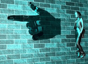 a 850 inch wide and 650 inch tall  wall.the wall is 300 inch wide [brick].a 450 inch tall transparent cyan flat hand is in front of the wall.the hand is -400 inch above the wall.the hand leans 90 degrees to east.two cyan lights are  in front of  the hand.ambient light is gray.the hand is -750 inch right of the wall.a 400 inch tall 40% dim cyan woman is in front of the wall.the woman is facing west.the woman is -200 inch right of the wall.the woman is -550 inch above the wall.the wall is 20% dim cyan.sky is 30% dim cyan.