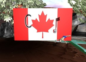 "a huge [Canada] flag is on a 22 feet wide [cave] pond. the pond faces back. a 2.5 feet tall and .5 feet deep clear sky blue ""C"" is -4 feet left of and 2 feet in front of and -3.7 feet above the flag. a 3 feet tall and .7 feet deep clear igloo blue eighth note is 4 feet right of and -3.5 feet above the ""C"". 1st rock is -4 feet left of and -10 feet behind the pond. 2nd large rock is -8 feet behind and -5 feet right of the pond. 1st tree is -18 feet left of and -9 feet behind the pond. 2nd tree is -10 feet right of and -5 feet in front of and -15 feet above the 2nd rock. it leans right. a 1.2 feet tall man is 1 feet in front of and -4 feet right of the flag. he faces northeast. he leans 30 degrees to the back. the sun's azimuth is 120 degrees."