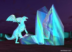 There is a 100 foot tall reflective [image-11859] crystal. The ground is dark brown. The sun is purple. A very large reflective white dragon is to the left of the crystal. The dragon is facing the crystal. The camera light is cyan.