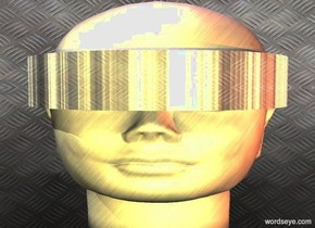 """a 1 feet tall head.a shiny """"c"""" is -5.4 inches above the head.it is face up.the """"c"""" is facing right.the head is 1 feet wide.the """"c"""" is metal.the head is metal.clear ground.a gold light is 1 feet in front of the head.the sky is texture.the texture is 1000 feet tall.a pink light is 2 inches above the head.a peach light is 1 feet right of the head."""