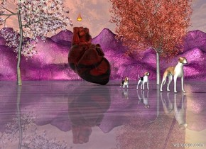 purple ground. the sky. 9 foot wide copper glass internal organ is on the ground behind the hounds. the hound is 27 foot south of the internal organ. the 2nd hound 3 foot behind the hound. the 3rd hound is 3 foot behind the hound.bronze green lights are above the ground. big plum tree next to the internal organ. red maple tree on the right side of internal organ. big flame is 1 foot above the internal organ. the big flame is -3 foot left of the internal organ.
