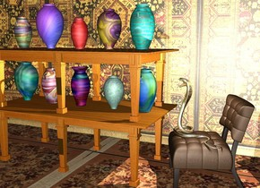 the 1st table is -0.1 inches above the 2nd table. the ground is texture. the 1st 16 inches tall [texture] vase is on the 2nd table. the texture wall is 1 foot to the left of the 2nd table. it is facing to the 2nd table. the 2nd 15 inches tall [texture] vase is 6 inches in front of the 1st vase. the 3rd 13 inches tall [texture] vase is 7 inches behind the 1st vase. the 4th 16 inches tall [texture] vase is 4 inches behind the 3rd vase. the 5th 17 inches tall [texture] vase is 4 inches in front of the 2nd vase. the 6th 12 inches tall [texture] vase is on the 1st table. the 7th 18 inches tall [texture] vase is 5 inches in front of the 6th vase. the 8th 15 inches tall [texture] vase is 5 inches behind the 6th vase. the 9th 13 inches tall [texture] vase is 5 inches in front of the 7th vase. the 10th 16 inches tall [texture] vase is 4 inches behind the 8th vase. the 30 inches tall  chair is behind the 2nd table. the 21 inches tall gold cobra is on the chair. the ground is unreflective. the tiny light is on the cobra. the cobra is fat