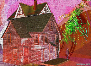 a 100 feet tall silver grape.a house is -60 feet above the grape.the house is facing southwest.a woman is -2 feet in front of the house.she is facing southwest.a plum light is 2 feet in front of the woman.a rust light is 2 feet behind the house.a blue light is 2 feet right of the house.a red light is 2 feet left of the house.a 2nd house is right of the house.it is facing southwest.a tree is in front of the 2nd house.the tree is rainbow.a gold light is above the 2nd house.
