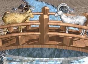 the 7 feet tall bridge. the ground is sand. the river is under and -50 feet to the left of the bridge. it is facing to the left. the bridge is [wood]. the 1st 6 feet tall [fur] goat is on the bridge. it is facing to the right. it is -7.5 feet to the left of the bridge. the 2nd 6.5 feet tall grey  [fur] goat is 4 feet to the right of the 1st goat. it is facing to the 1st goat. the river is shiny. the azimuth of the sun is 60 degrees