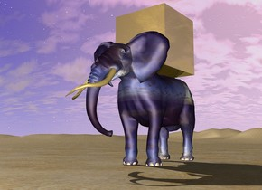 huge gold cube on [cloud] elephant. ground is orange sand.