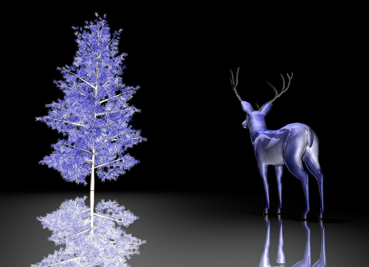 Input text: it is night. the blue deer. the antler of the deer is silver. the deer is shiny. the 1st giant white light is on the deer.  the ground is silver. the shiny blue tree is 33 feet in front of the deer. the 2nd giant white light is on the tree