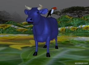 sky is 4000 feet tall.sky is 30000 inch tall [forest].sun is gold..ground is 1600 inch tall [grass].ground is 80 feet tall.a 220 inch tall [ikb191] cow is 150 inch above the ground.camera light is delft blue.it is evening.ambient light is gray.a 60 inch tall toucan is -35 inch above the cow.the toucan is -360 inch in front of the cow.the toucan is facing southeast.