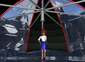 a clear white umbrella.ground is 150 feet tall.ground is clear.the rib of the umbrella is red..the shaft of the umbrella is silver.a 5 inch tall woman is -15 inch above the umbrella.