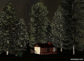 a 1st dark tree.a cabin is right of the 1st tree.it is behind the 1st tree.the cabin is facing southeast.a 2nd dark tree is behind the cabin.a 3rd dark tree is behind the 1st tree.a 4th dark tree is -12 feet right of the 3rd tree.it is behind the 3rd tree.a 5th dark tree is right of the cabin.the sky is [mountain].it is dusk.the ground is dark.the ground is 150 feet tall.the ground is grass.a 55% yellow light is -5 feet in front of the cabin.a bear is left of the cabin.a 6th dark tree is -10 feet right of the 2nd tree.a dark bush is 25 feet in front of the bear.