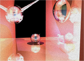 a shiny ball is -11 feet above and -4 feet behind a shiny copper dam. the ball is upside down. a light is above the ball. the sky is invisible. the ground is invisible. the camera light is hydrangea blue. the sun's azimuth is 360 degrees. the sun's altitude is 74 degrees. the sun is salmon. a sky blue light is 4 feet in front of the ball. 1st shiny 2 feet tall [space] sphere is 1 feet in front of and .5 feet right of and 1 feet above the ball. 2nd 2.3 feet tall shiny [face] sphere is 1.2 feet behind and .8 feet above and .5 feet left of the ball.  a cobalt blue light is behind the 2nd sphere. a 4 feet tall shiny [face] cone is 1.2 feet behind and 2 feet above the ball. it faces the 2nd sphere. it leans 60 degrees to the back. a very tiny  silver unicorn is  5 inch behind and -1.4 feet left of the ball. it faces northeast. a small indigo light is 1 inch in front of and -2 inches above the unicorn.