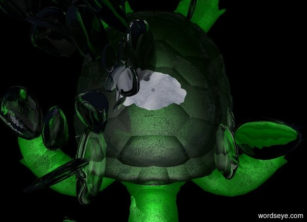 Input text: the ground is water. the 1989 feet tall turtle is on the ground. the turtle is shiny. 9000 foot long prickly pear cactus on the turtle. green light above the prickly pear cactus. a huge ghost white light. the ambient light is silver. the prickly pear cactus is 15% transparent.