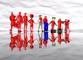 sky is 60000 inch wide  [paper].ground is clear .ten 40 inch tall red people are on the ground.ground is 5 feet tall.