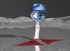 a 100 inch tall and 220 inch wide and 100 inch deep  leg.sky is black.ground is shiny gray.a 50 inch tall delft blue eye is -18 inch above the leg.azimuth of the sun is 150 degrees.altitude of the sun is 30 degrees.a 30 inch tall and 110 inch wide and 70 inch deep 50% dim delft blue hat is -17 inch above the eye.the hat leans 5 degrees to the front.