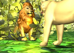 it is day. the lion. The lion is 13 inches tall. the lion is facing south. the ground is texture. the ground is unreflective. the bush is -45 inches in front of the lion and -10 inches above the ground. the 11 inches tall lioness is 6 inches in front of the lion. The lioness  is facing North. the tree is 30 inches to the right of and 10 inches in front of the lion. the tree is -50 inches above the ground. the 2nd tree is 2 feet to the right of and behind the lioness. the tree is -170 inches above the ground. the 3rd tree is -43 feet above the 2nd tree. the yellow light is behind the lion. it is facing to the lion.