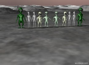 Ten rows of space aliens  . With a ground .