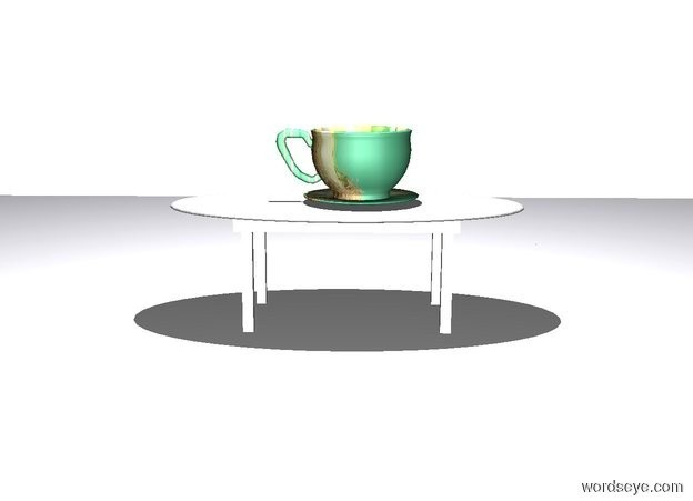 Input text: a house is 20 feet tall. the house's wall is white. the house's floor is white. a small white table is -20 feet above the house. camera light is white. a ghost white light is 5 feet above the table. a very large [ornate] cup is on the table. the table faces right.
