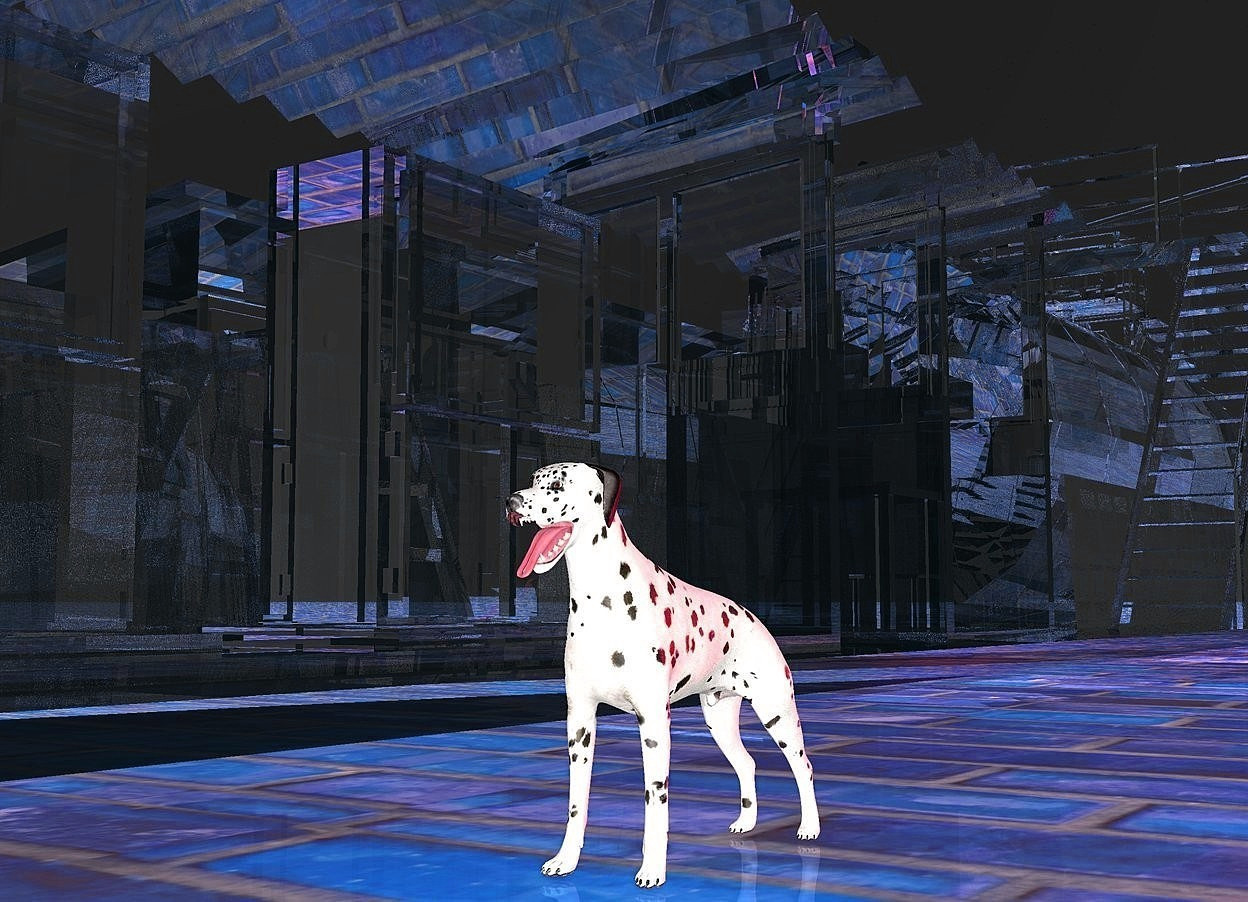 Input text:  a  clear white factory.sky is black.ambient light is gold.ground is 150 inch wide  [tile].three maroon lights are 20 inch above the ground.a 15 inch tall dalmatian is on the ground.the dalmatian is 40 inch right of the factory.the dalmatian is -70 inch in front of the factory.