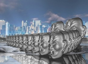 Ten  800 inch tall gray heads  are behind eleven 800 inch tall gray heads.  9 850 inch tall gray heads are behind the heads. 8 900 inch tall gray heads are behind the heads. 7 950 inch tall gray heads are behind the heads. 6 1000 inch tall gray heads are behind the heads. 5 1050 inch tall gray heads are behind the heads. 4 1100 inch tall gray heads are behind the heads. 3 1150 inch tall gray heads are behind the heads. 2 2000 inch tall gray heads are behind the heads.ground is shiny gray.a  40% shiny city is in the background.
