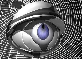 a 100 inch tall  and 140 inch wide and 150 inch deep white eye.the eye is 50 inch tall [china].a 22 inch tall  blue sphere is in front of the eye.the sphere is -70 inch above the eye.sky is gray.ground is invisible.the sphere is -86.5 inch right of the eye.the sphere is 32 inch wide  [eye].the sphere is facing north.the sphere leans 20 degrees to north.a 800 inch wide and 500 inch tall [nt] wall is behind the eye.the wall is -250 inch above the eye.