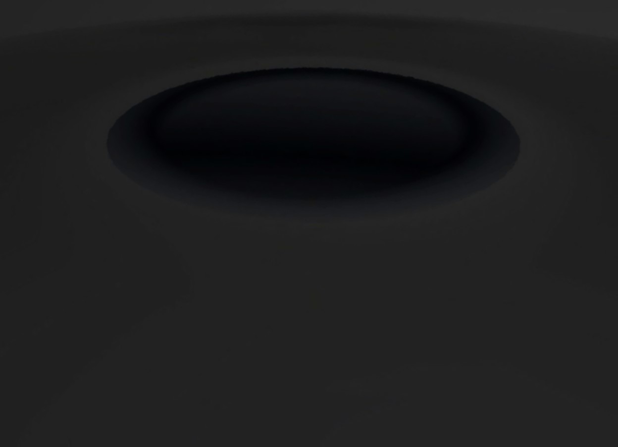 Input text: ground is invisible.  sky is dark black.  there is a big transparent shining sphere.