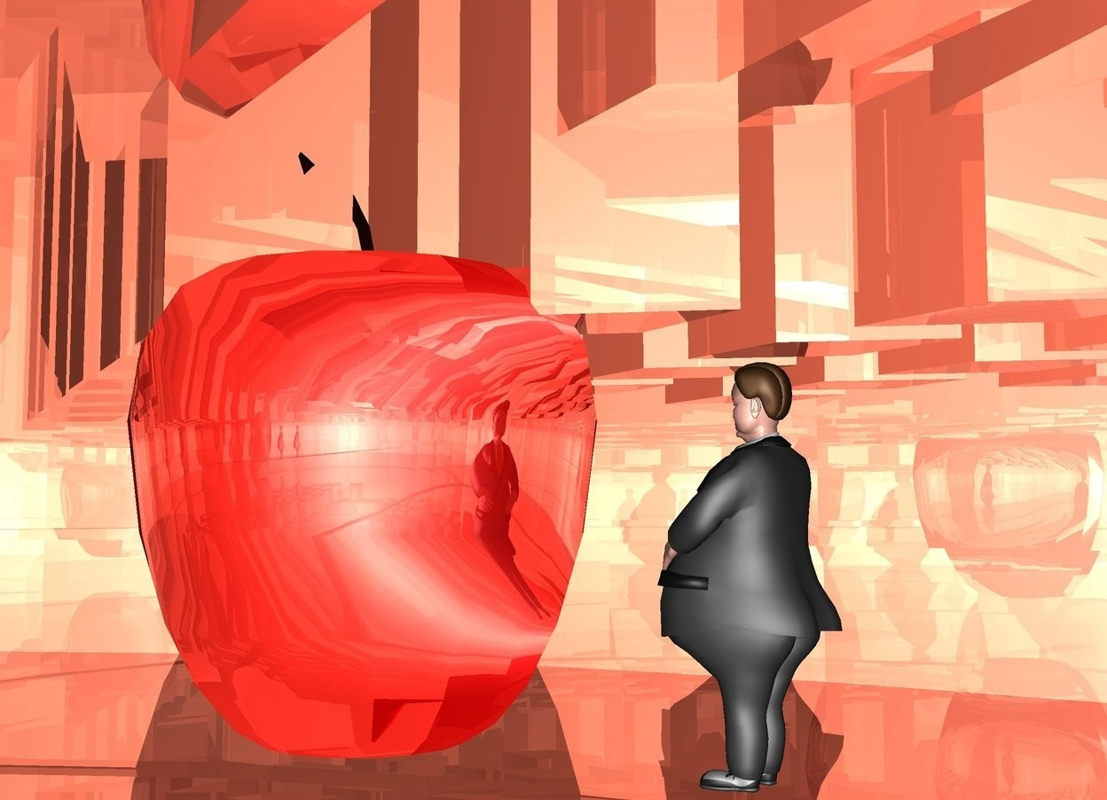 Input text: a shiny peach cover.the cover is 100 feet deep.the cover is 50 feet wide.the cover is 30 feet tall.a man is -27.3 feet above the cover.a humongous shiny apple is 2 feet in front of the man.