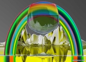 a   160 inch tall and 10 inch deep and 100 inch wide   green yellow wineglass.a 170 inch tall and 2 inch deep and 240 inch wide rainbow is in front of the wineglass.the rainbow is -160 inch above the wineglass.sky is black.ground is shiny gray.ambient light is gray.ground is 150 feet tall and 300 feet wide and 800 feet deep.camera light is gray.a blue light is 60 inch above the wineglass.