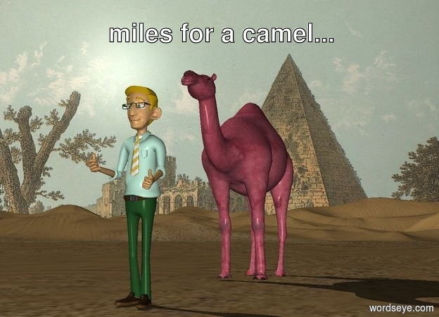 Input text: the [pyramid] backdrop.  the man is two feet in front of the pink camel.