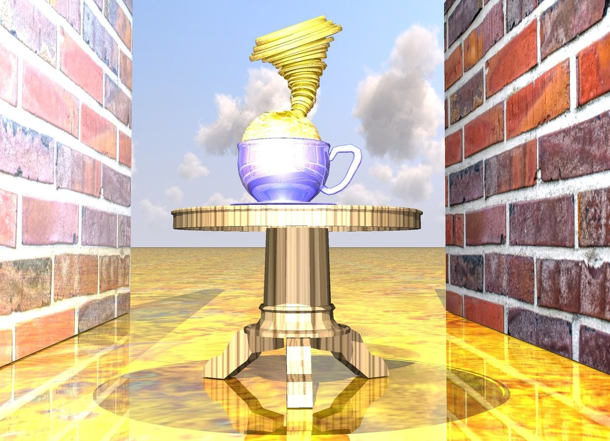 Input text: the ground is wood. the ground is shiny. the table. the shiny giant cup is on the table. the 20 inches tall gold tornado is -1 inch above the cup. the 12 inches tall water sphere is in the cup. the shiny [brick] wall is 30 inches behind the table. the sphere is 30% gold. the small light is 10 inches above the tornado. the table is wood. the cup is 70% blue. the 2nd [brick] wall is 30 inches in front of the table. it is facing to the table. the cup is facing to the left