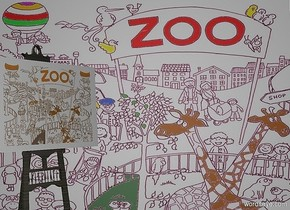 a 970 inch wide and 700 inch tall [zoo] wall.sky is white.  a 520 inch tall wood easel is in front of the wall.  a 205 inch tall and 255 inch wide linen flat painting is -290 inch above the easel.the painting is in front of the easel.the easel is -290 inch left of the wall.the easel is facing southeast.the painting is facing southeast.the painting is -100 inch right of the easel.the painting leans 5 degrees to back.the painting is 190 inch wide [zoo].camera light is gray.