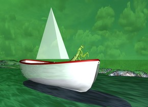 the sun is  green. the river. the ground is shiny. the ground is grass. the white boat is on the river. it is facing to the right. the seat of the boat is white. the hull of the boat is white. the interior of the boat is white. the grate of the boat is white. the 3 feet tall thin pyramid is above the boat. the pyramid is facing to the right.  the 1 feet tall insect is to the right of the pyramid and -10 inches above the boat. it is facing to the right. it is leaning 30 degrees to the back. the pyramid is 50% shiny. the boat is 50% shiny